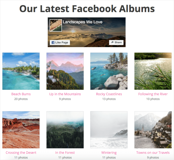 facebook feed on website example albums