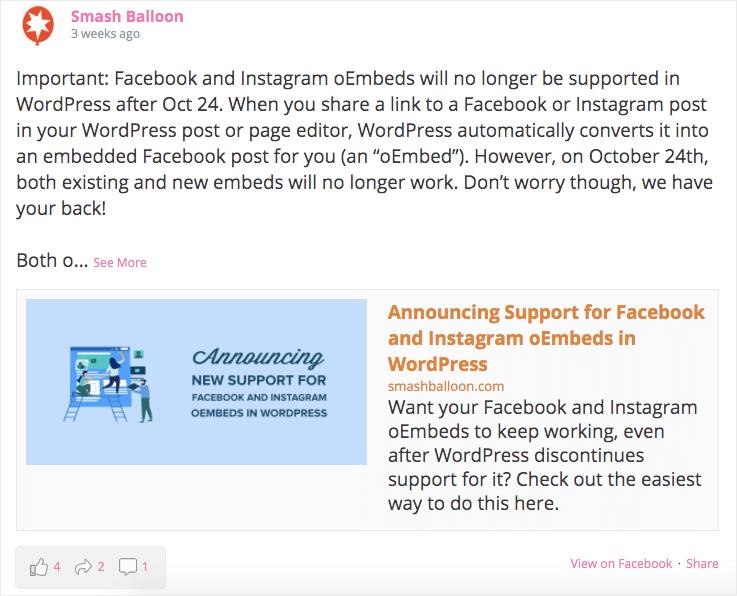 put facebook feed on website half width example