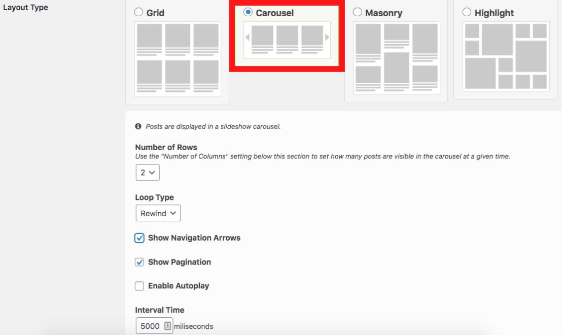 carousel layout settings