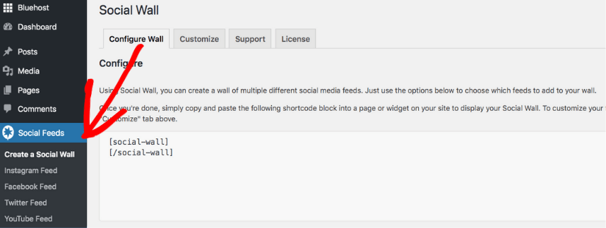 social feeds menu