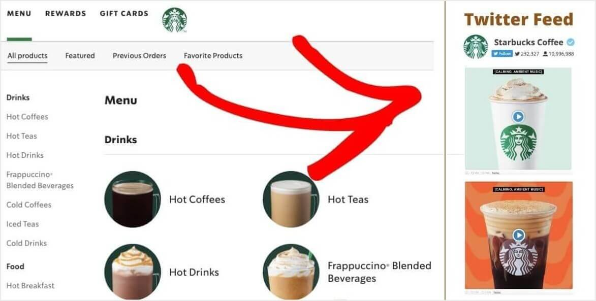 types of tweets for business product placement tweet starbucks