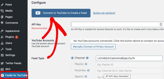 connect youtube account to embed multiple youtube videos on website
