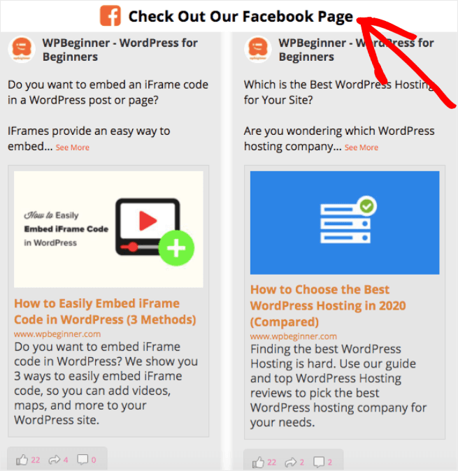 embed facebook page on website text header
