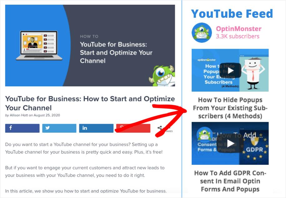 embed multiple youtube videos on website sidebar example
