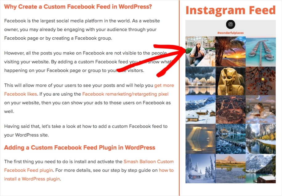 instagram widget wordpress sidebar example