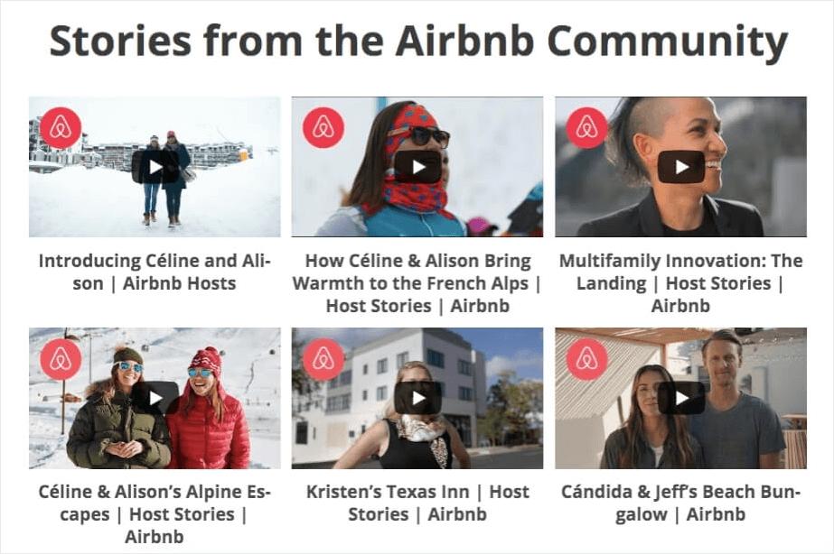 social media marketing examples airbnb youtube