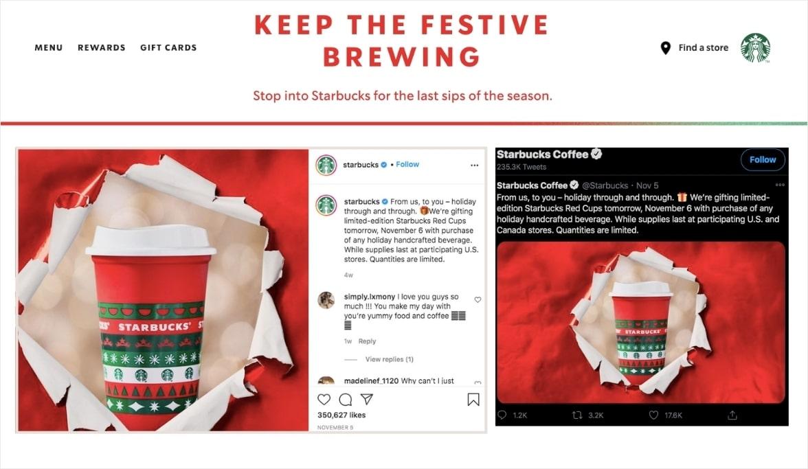 social media marketing examples starbucks