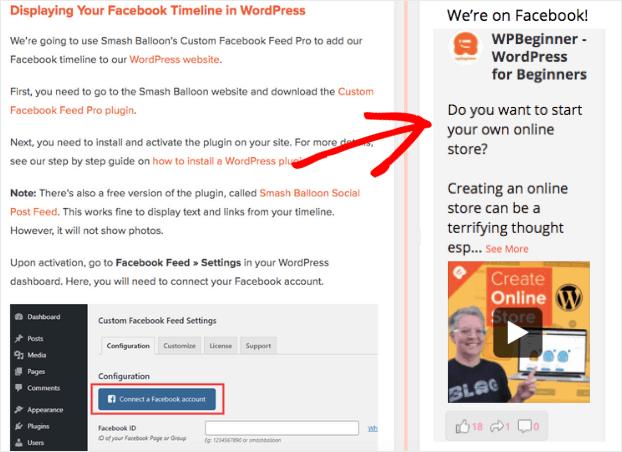 embed facebook feed in wordpress widget example