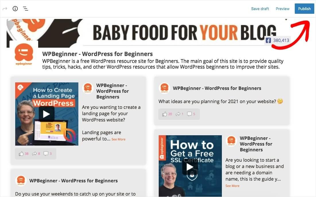embed facebook feed in wordpress publish