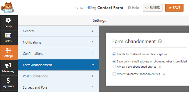 wpforms review form abandonment