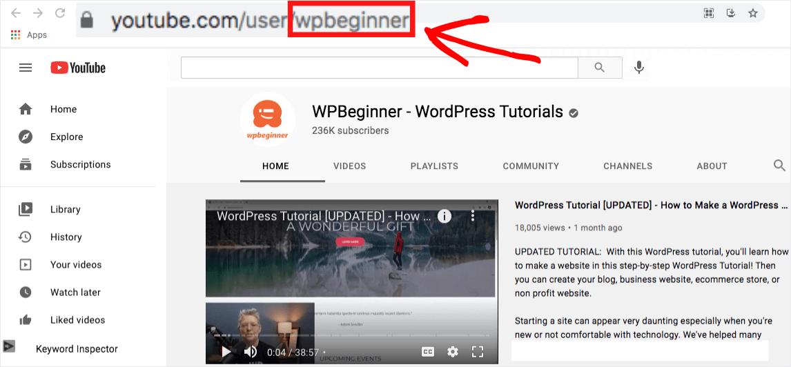 youtube channel username