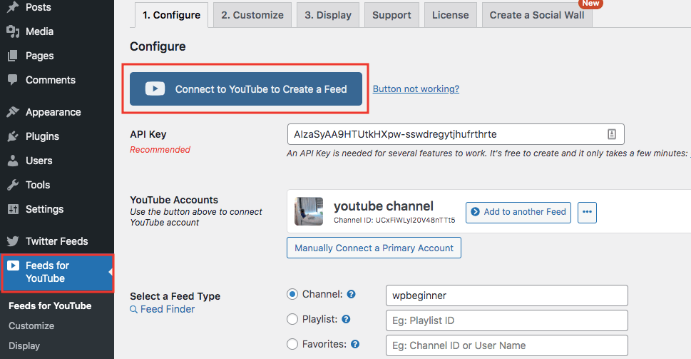 feeds for youtube pro settings