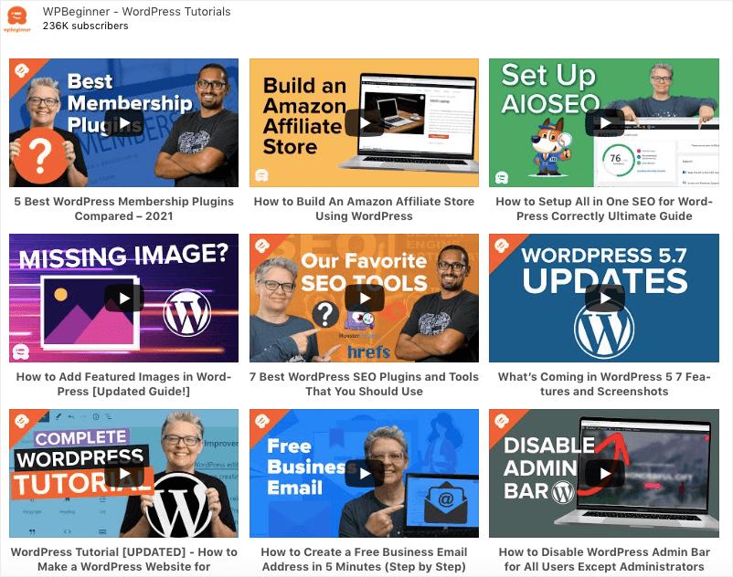 add youtube to wordpress example