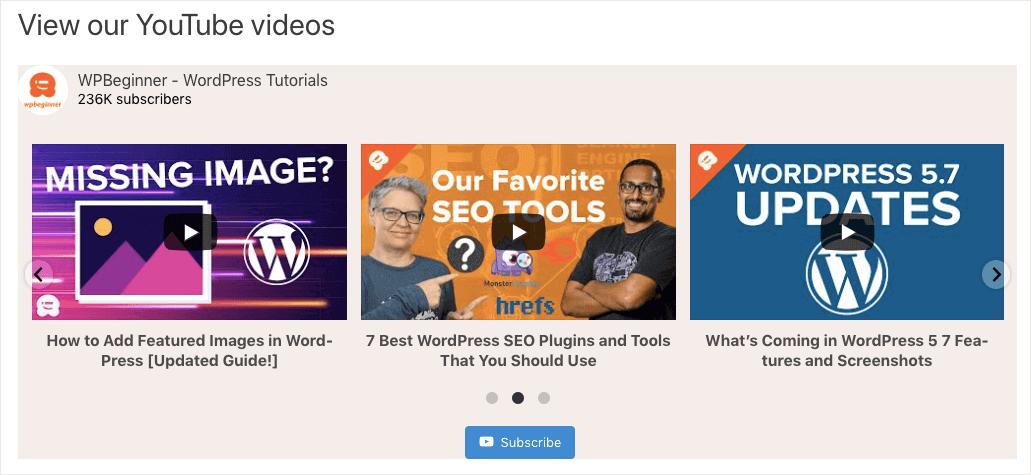 add youtube to wordpress carousel layout