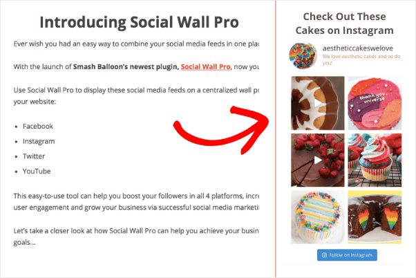 instagram feed on website sidebar