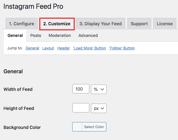 customize embedded live instagram feed on website