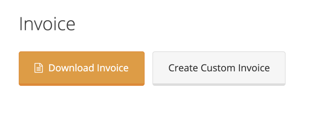 Displays the selection options of either downloading the original invoice or creating a custom invoice.