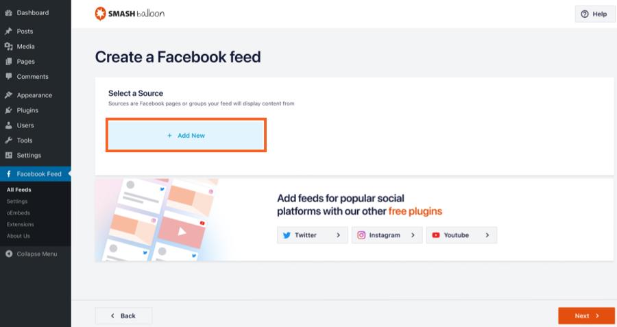 Add New Source - Facebook 4.0