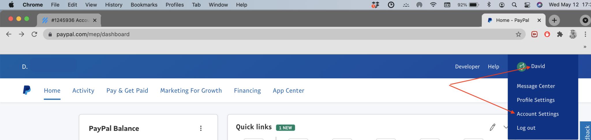 Screenshot of payment update access