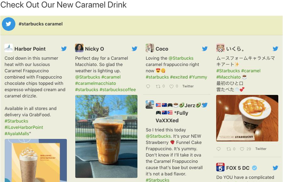add twitter to wordpress starbucks hashtag