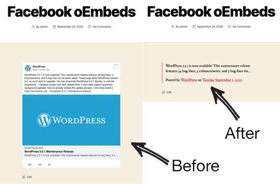 before after facebook oembeds