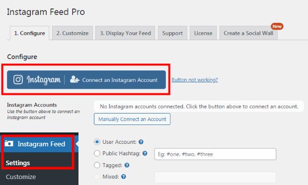 configure user account instagram feed pro