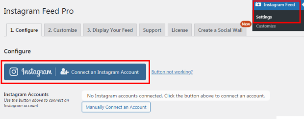 connect instagram account
