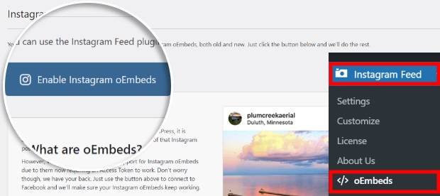 enable oembeds for instagram feed pro plugin
