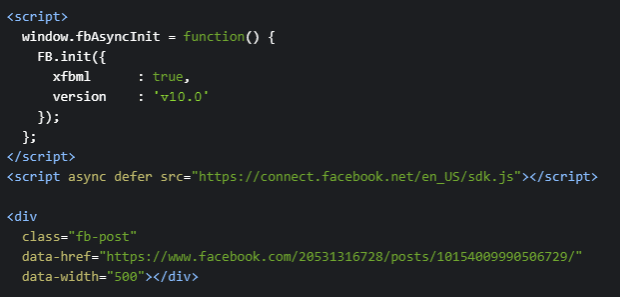 facebook page embed code hard