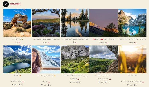 feed instagram mountains example