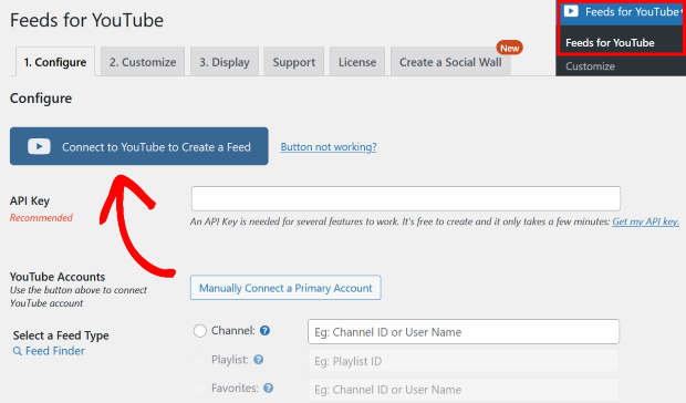 connect youtube to embed multiple youtube videos on website