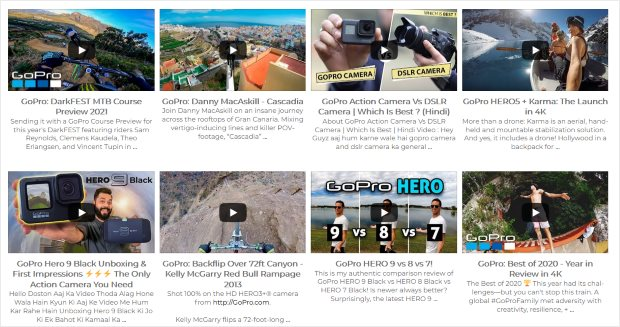 grid youtube feed example gopro