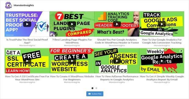 wordpress youtube feed example