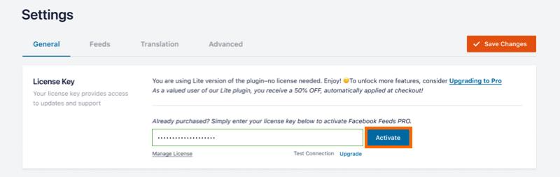 Activate License - Facebook 4.0