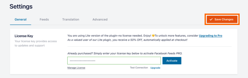 License Tab - Facebook 4.0