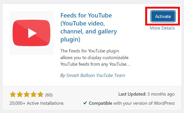 activate feeds for youtube
