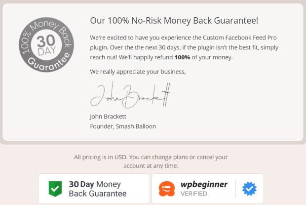 smash balloon money back guarantee