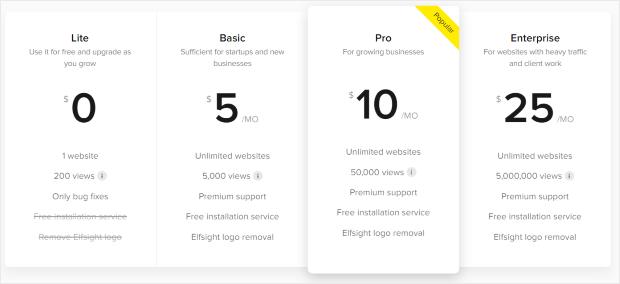 single app price elfsight