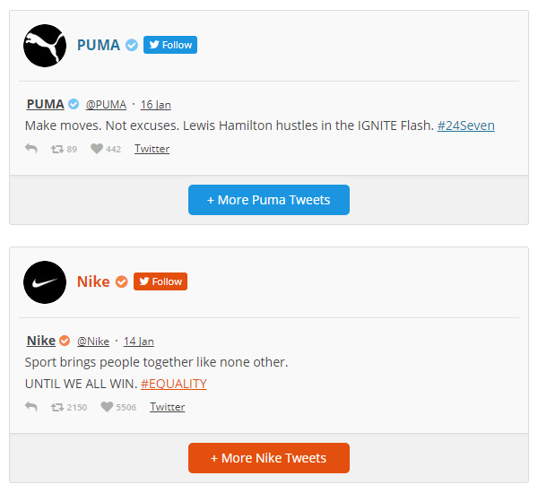 smash balloon custom twitter feeds puma nike
