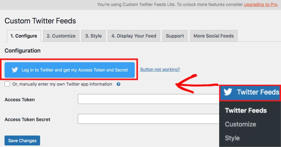 connect smash balloon custom twitter feeds free