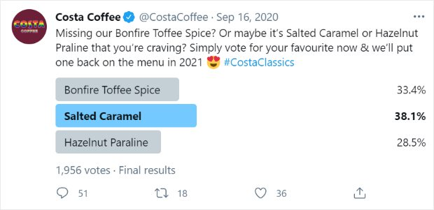 survey on twitter costa coffee