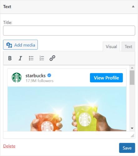 widget for instagram post