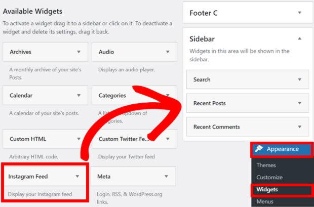 add instagram feed to sidebar