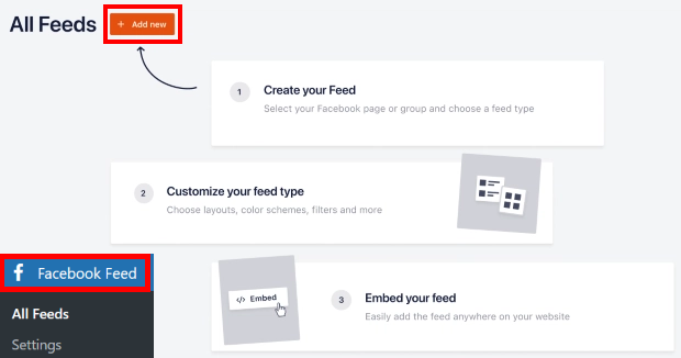 add new feed with custom facebook feed pro