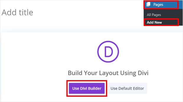 add new page in divi