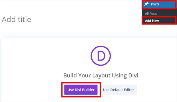 add new post in divi