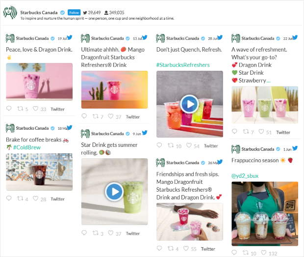 add twitter feeds with visual content to your site
