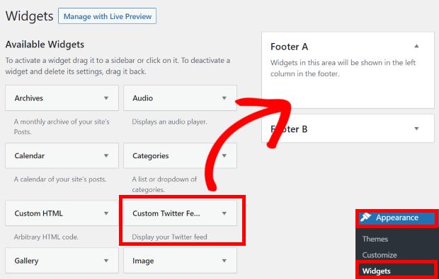 add twitter widget to footer