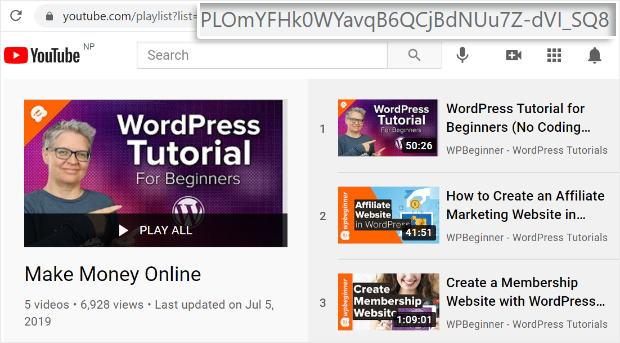 copy youtube playlist id
