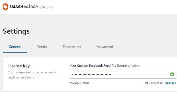custom facebook feed pro license key